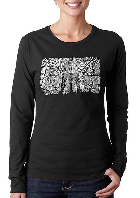 Word Art Long Sleeve T-Shirt - Brooklyn Bridge