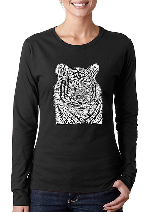 Word Art Long Sleeve T-Shirt - Big Cats