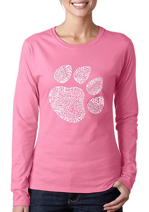 Word Art Long Sleeve T-Shirt - Cat Paw