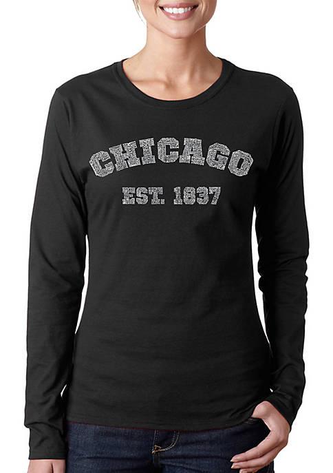 Word Art Long Sleeve T-Shirt - Chicago 1837