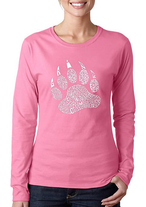 Word Art Long Sleeve T-Shirt - Types of Bears