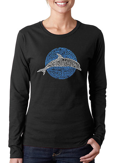 Word Art Long Sleeve T-Shirt - Species of Dolphin