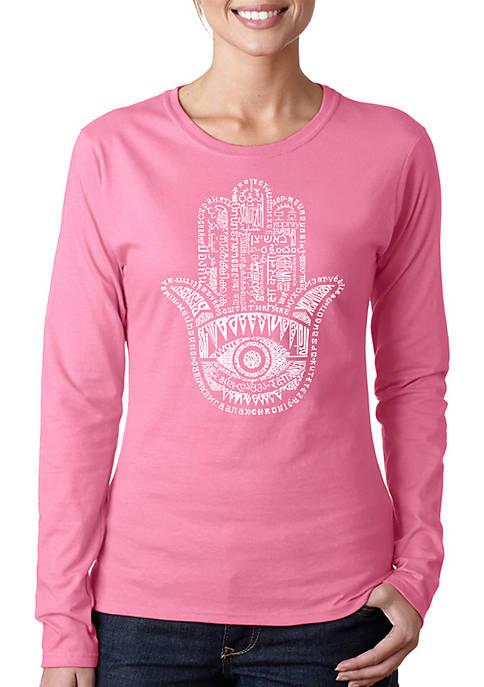 Word Art Long Sleeve T-Shirt - Hamsa