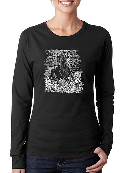 Word Art Long Sleeve T-Shirt - Popular Horse Breeds