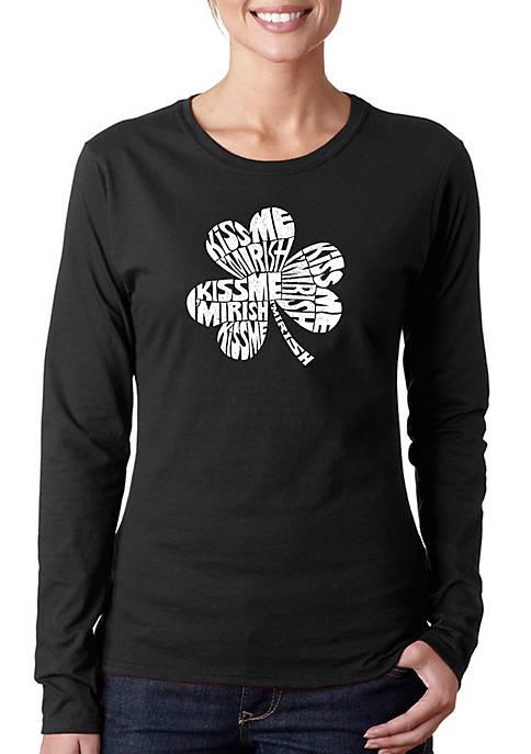 Word Art Long Sleeve T-Shirt - Kiss Me Im Irish