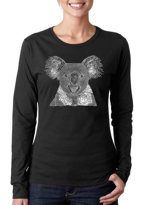 Womens Word Art Long Sleeve T-Shirt - Koala