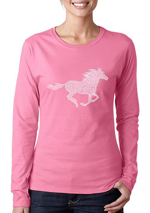 Word Art Long Sleeve T-Shirt - Horse Breeds