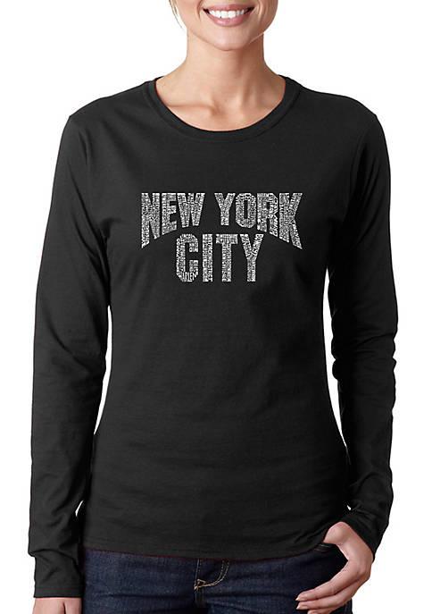 Word Art Long Sleeve T-Shirt - NYC Neighborhoods