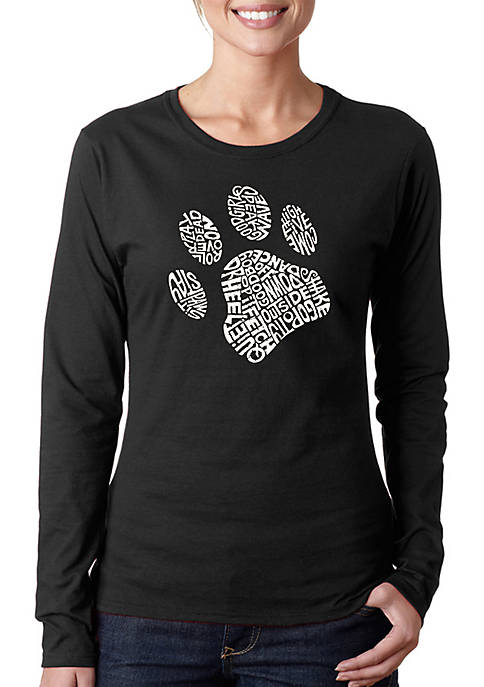 Word Art Long Sleeve T-Shirt - Dog Paw