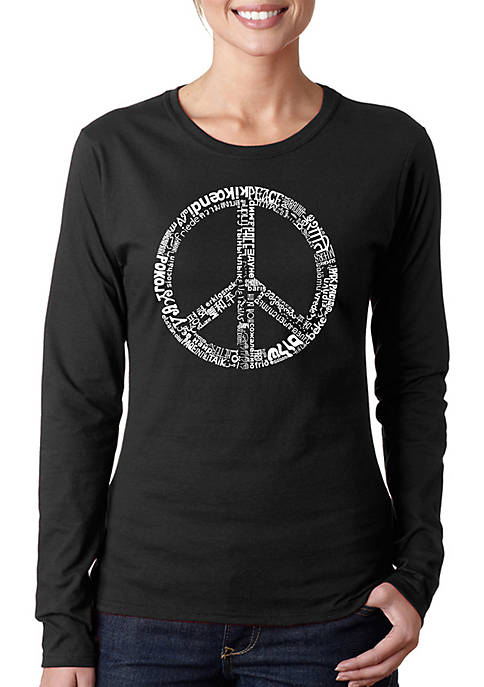 Word Art Long Sleeve T-Shirt - The Word Peace in 77 Languages