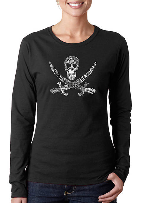 Word Art Long Sleeve T-Shirt - Pirate Captains, Ships and Imagery
