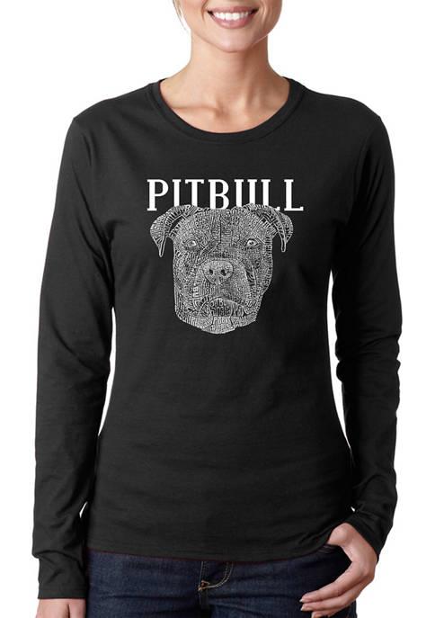 Womens Word Art Long Sleeve T-Shirt - Pitbull Face