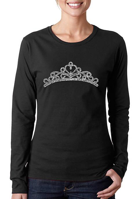 Word Art Long Sleeve T-Shirt - Princess Tiara