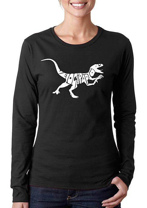 Word Art Long Sleeve T-Shirt - Velociraptor