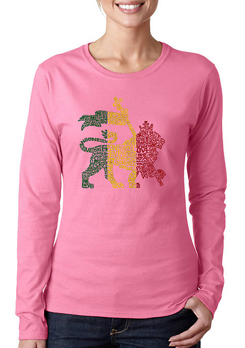 Word Art Long Sleeve T-Shirt - Rasta Lion - One Love