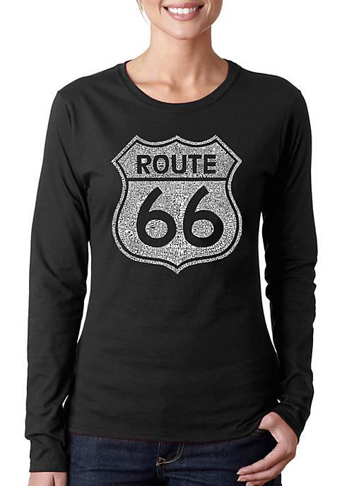 Word Art Long Sleeve T-Shirt - Cities Along The Legendary Route 66