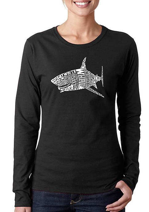 Word Art Long Sleeve T-Shirt - Species of Shark