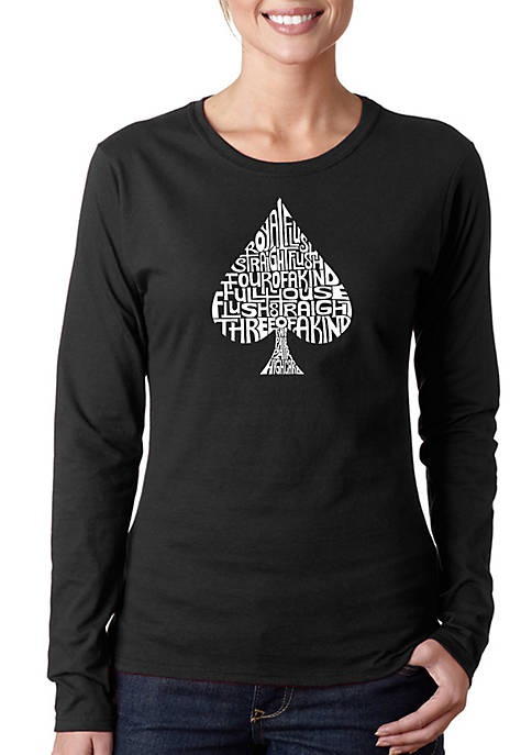 Word Art Long Sleeve T-Shirt- Order of Winning Poker Hands