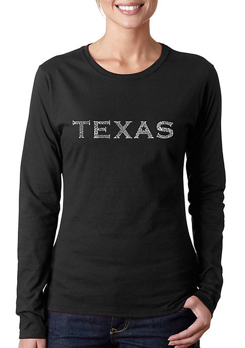 Word Art Long Sleeve T-Shirt - The Great Cities of Texas