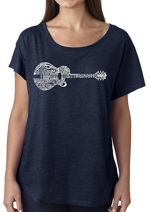 Loose Fit Dolman Cut Word Art Shirt - Country Guitar