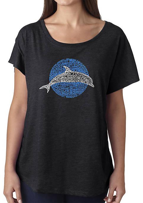 Loose Fit Dolman Cut Word Art Shirt - Species of Dolphin