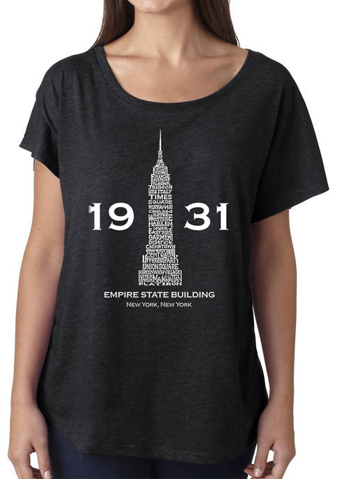 Womens Loose Fit Dolman Cut Word Art Graphic Shirt - Empire State Building
