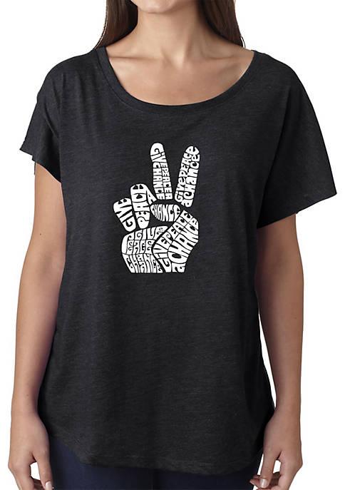 Loose Fit Dolman Cut Word Art Shirt - Peace Fingers