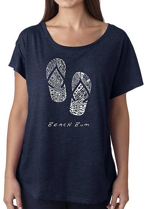 Loose Fit Dolman Cut Word Art T-Shirt - Beach Bum