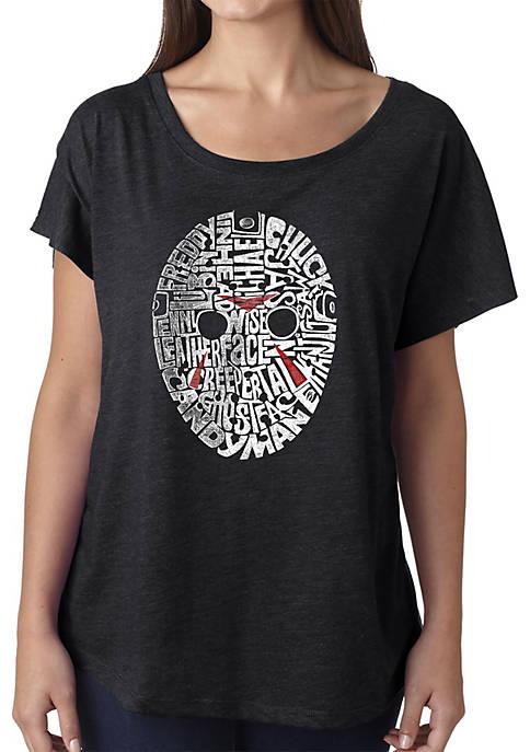 Loose Fit Dolman Cut Word Art T-Shirt - Slasher Movie Villians