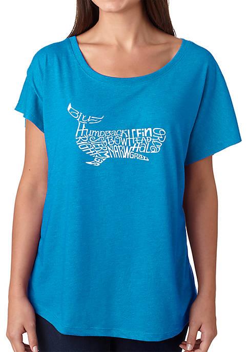Loose Fit Dolman Cut Word Art T-Shirt - Humpback Whale