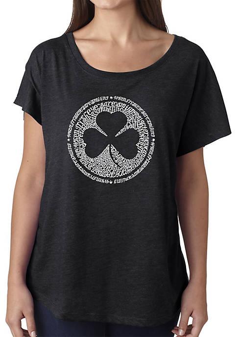 Loose Fit Dolman Cut Word Art T-Shirt - Lyrics to When Irish Eyes Are Smiling