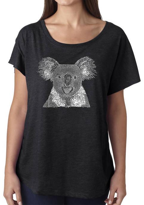 Womens Loose Fit Dolman Cut Word Art Graphic Shirt - Koala