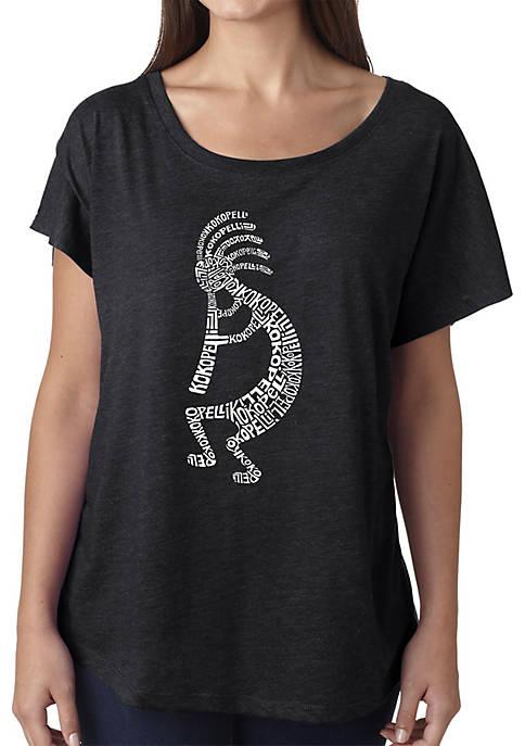Loose Fit Dolman Cut Word Art T-Shirt - Kokopelli