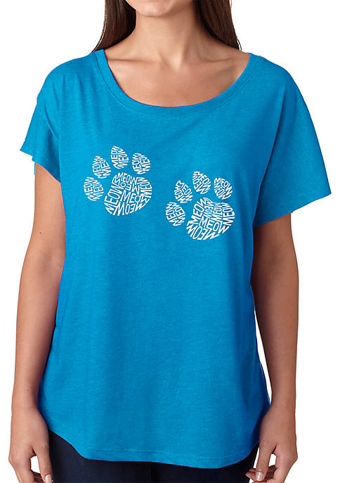 Loose Fit Dolman Cut Word Art T-Shirt - Meow Cat Prints