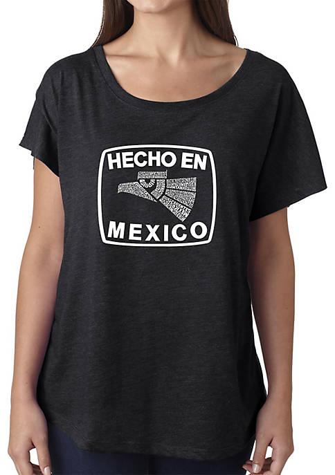 Loose Fit Dolman Cut Word Art T-Shirt - Hecho En Mexico