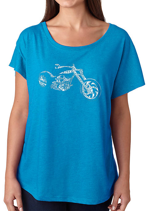 Loose Fit Dolman Cut Word Art T-Shirt - Motorcycle