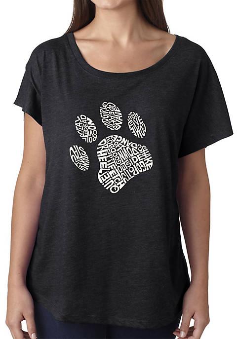 Loose Fit Dolman Cut Word Art T-Shirt - Dog Paw