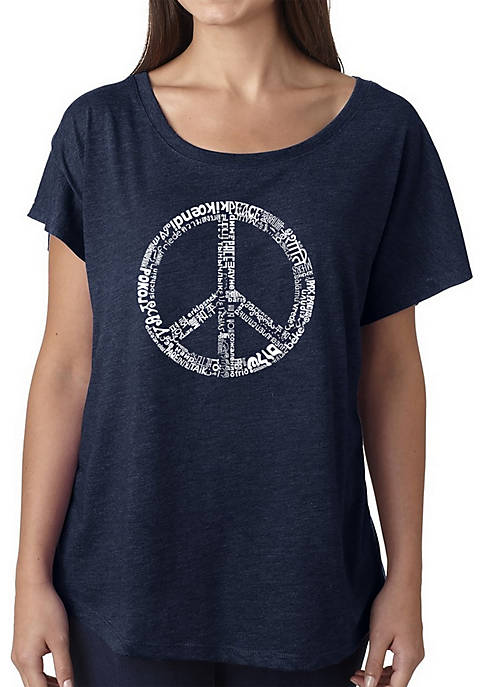 Loose Fit Dolman Cut Word Art T-Shirt - The Word Peace in 77 Languages