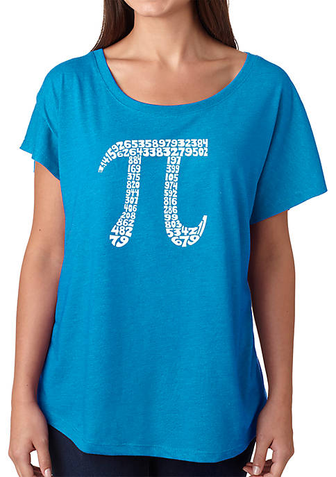 Loose Fit Dolman Cut Word Art T-Shirt - The First 100 Digits of Pi