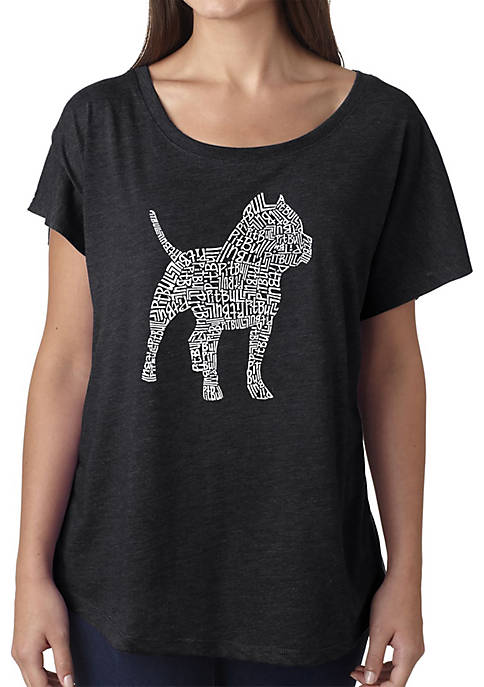 Loose Fit Dolman Cut Word Art T-Shirt - Pit Bull