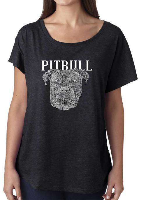 Womens Loose Fit Dolman Cut Word Art Graphic Shirt - Pitbull Face