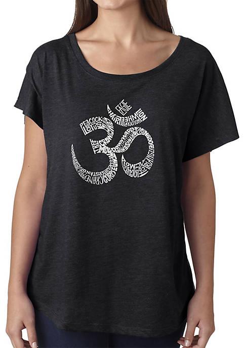 Loose Fit Dolman Cut Word Art T-Shirt - Poses OM