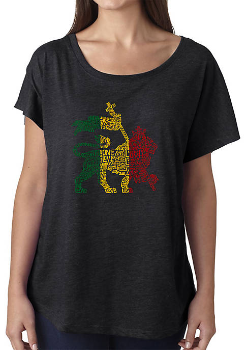 Loose Fit Dolman Cut Word Art T-Shirt - Rasta Lion - One Love