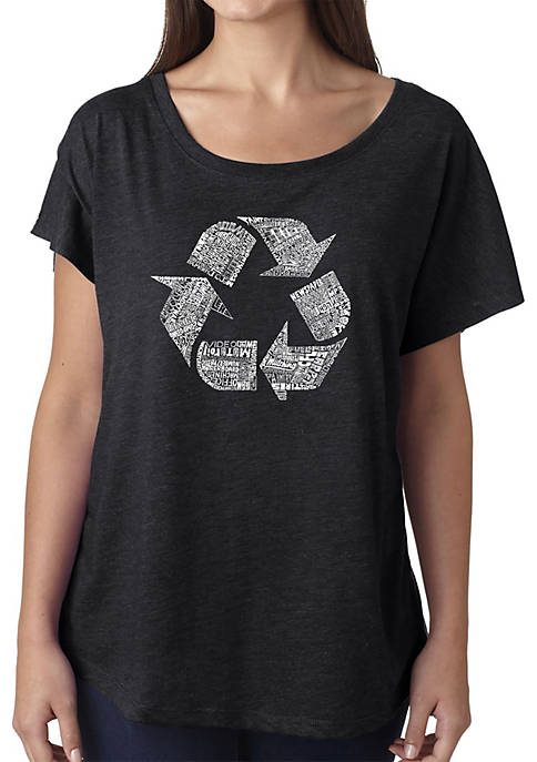 Loose Fit Dolman Cut Word Art T-Shirt - 86 Recyclable Products
