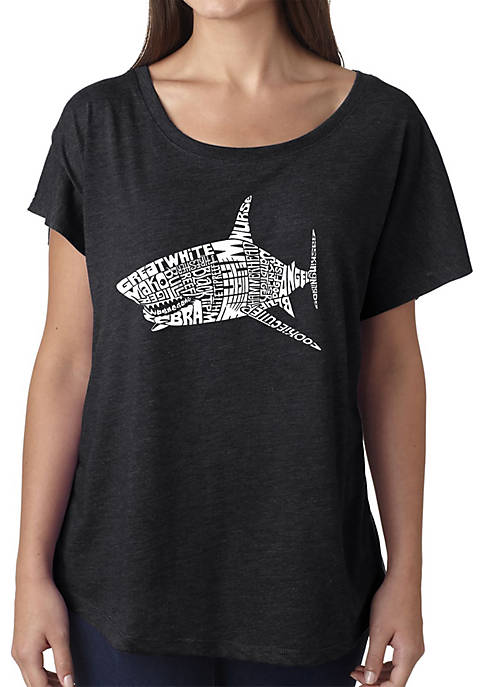 Loose Fit Dolman Cut Word Art T-Shirt - Species of Sharks