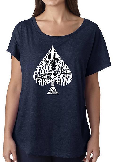 Loose Fit Dolman Cut Word Art T-Shirt - Order of Winning Poker Hands