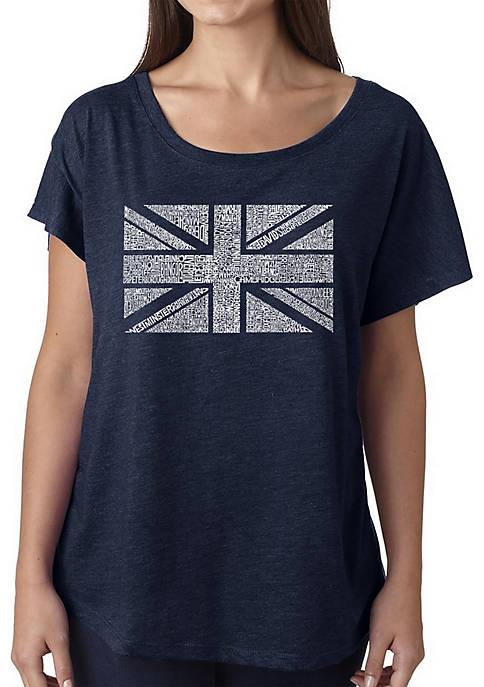Loose Fit Dolman Cut Word Art T-Shirt - Union Jack
