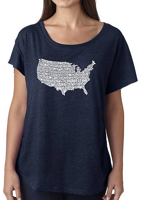 Loose Fit Dolman Cut Word Art T-Shirt - The Star Spangled Banner