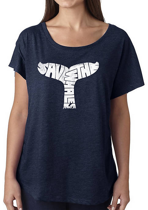 Loose Fit Dolman Cut Word Art T-Shirt - Save The Whales