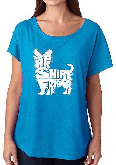 Loose Fit Dolman Cut Word Art T-Shirt - Yorkie